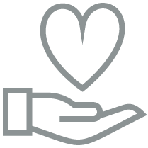 hand with a heart icon