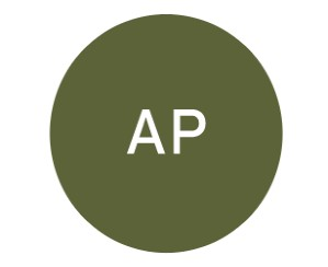 The letters AP in a green circle