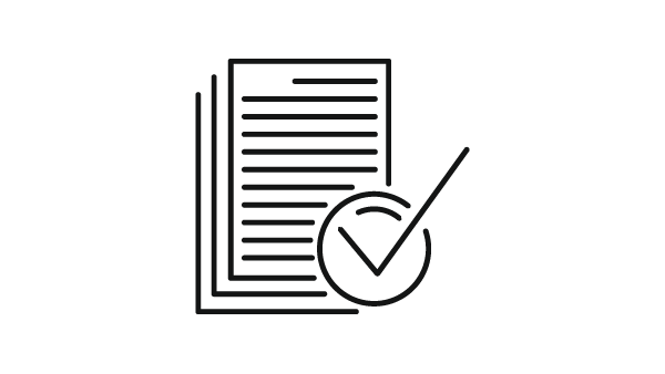 Icon of several pieces of paper with a checkmark on it