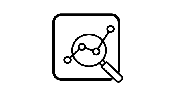 Icon of a stock chart with a magnifying glass over it