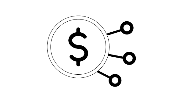 Icon of a dollar sign with a circle and lines around it