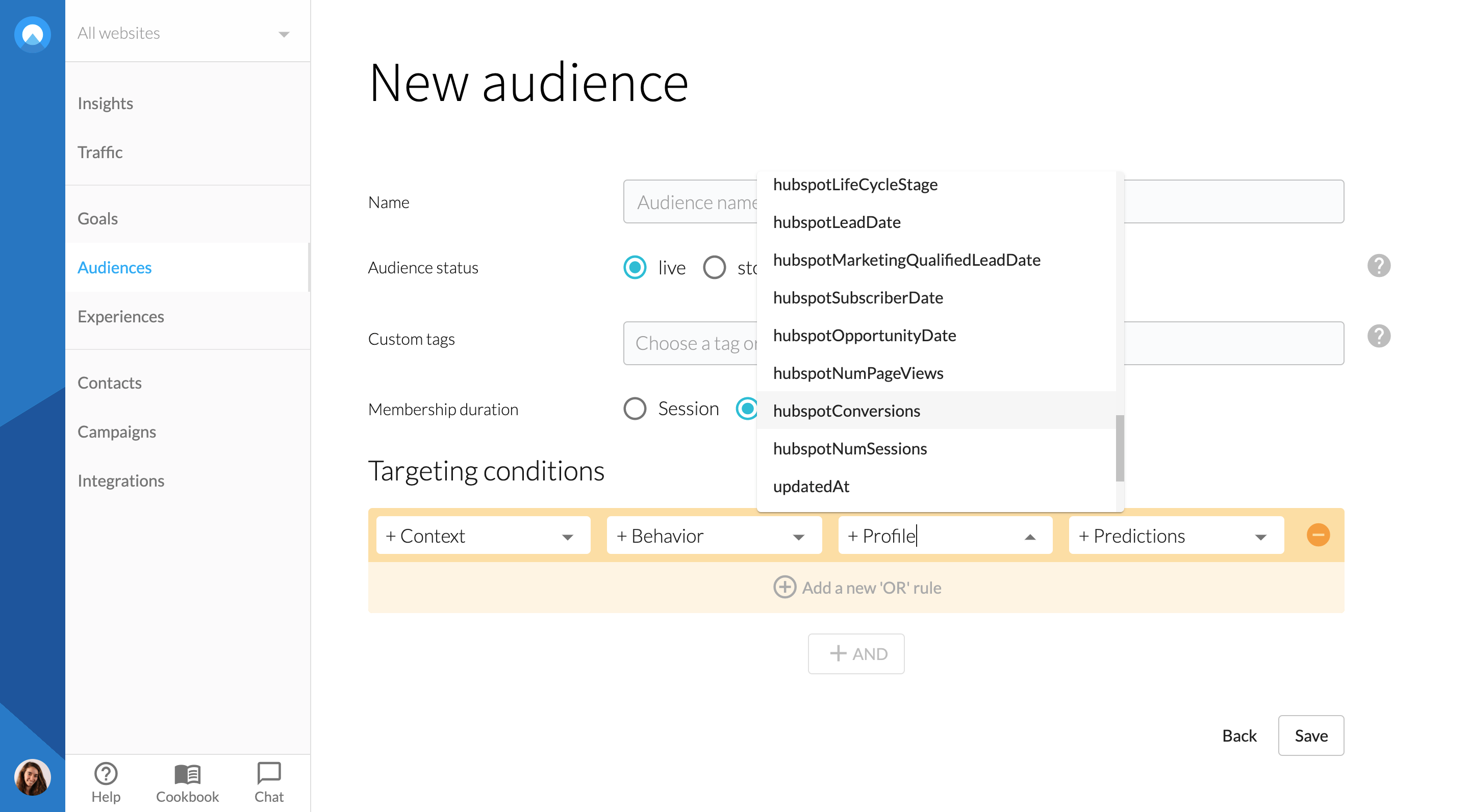 hubspot-contacts-audience