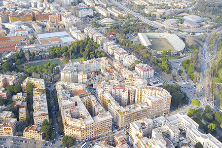 Rome, aerial view of Flaminium district