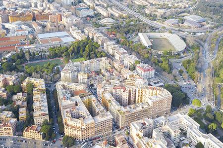 Roma, vista aerea del quartiere Flaminio