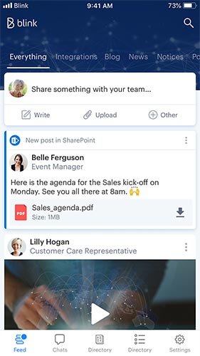 Employees start and run their days on Blink – from a personalized feed of tasks and to-do's to important company announcements. Everyone in your company communicates –not just a select few.