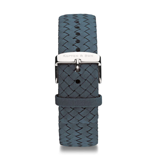 "Leather Strap ""Light Blue Woven Leather"" Chrono Silver"
