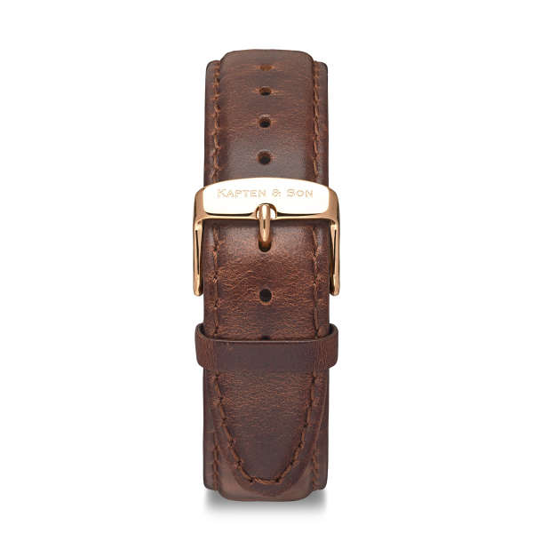 """Leather Strap """"Brown Leather"""" Heritage Rosegold"""