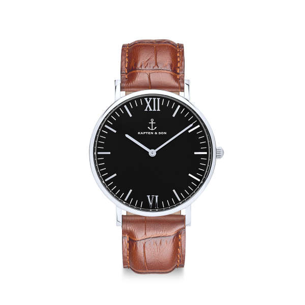 "Campina Silver ""Black Brown Croco Leather"""
