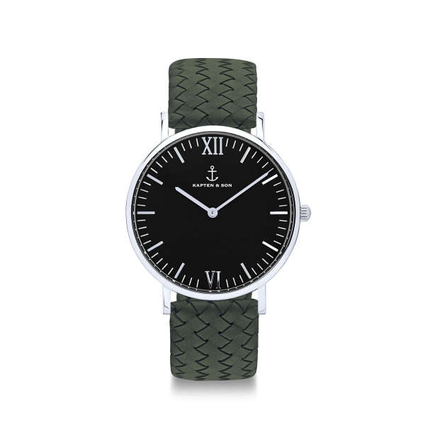 """Campina Silver """"Black Pine Green Woven Leather"""""""