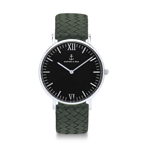 """Campus Silver """"Black Pine Green Woven Leather"""""""