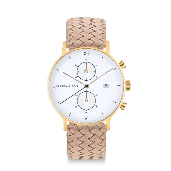 "Chrono Gold ""Sand Woven Leather"""