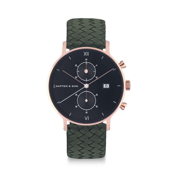 "Chrono ""Black Pine Green Woven Leather"""