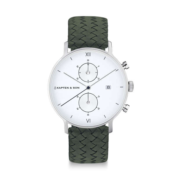 "Chrono Silver ""Pine Green Woven Leather"""