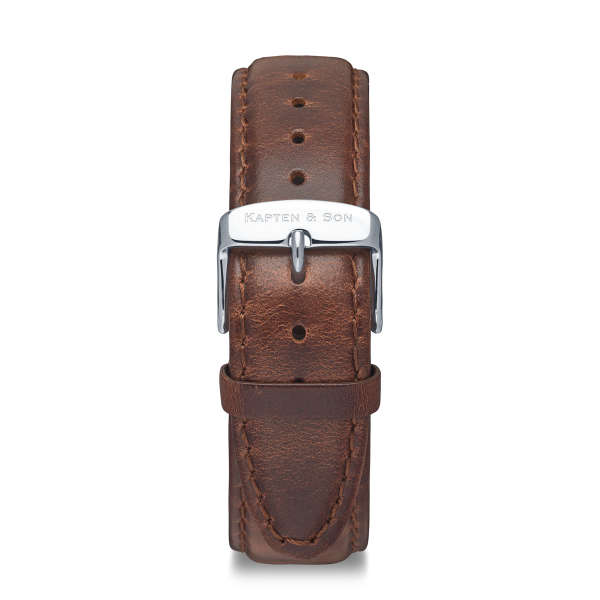 """Leather Strap """"Brown Leather"""" Heritage Silver"""
