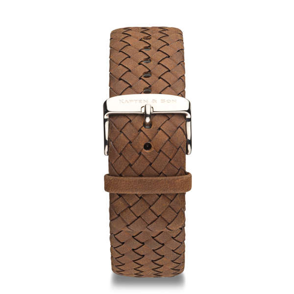 "Leather Strap ""Brown Woven Leather"" Chrono Silver"