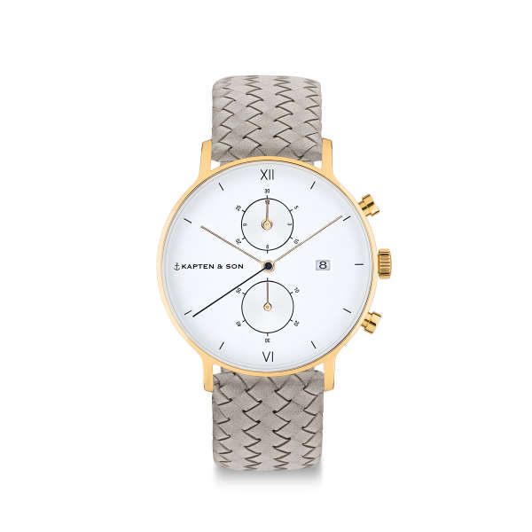 "Chrono Small Gold ""Grey Woven Leather"""