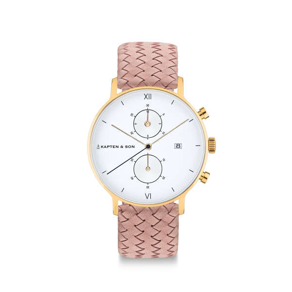 "Chrono Small Gold ""Rose Woven Leather"""