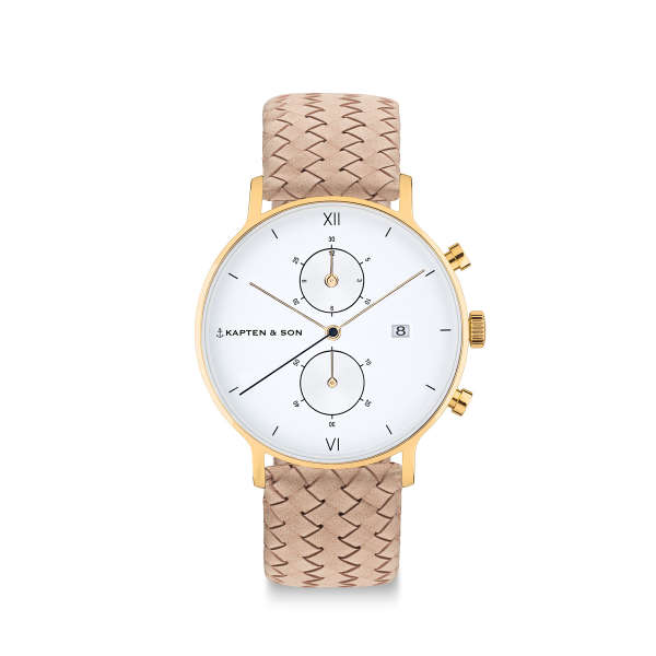 "Chrono Small Gold ""Sand Woven Leather"""
