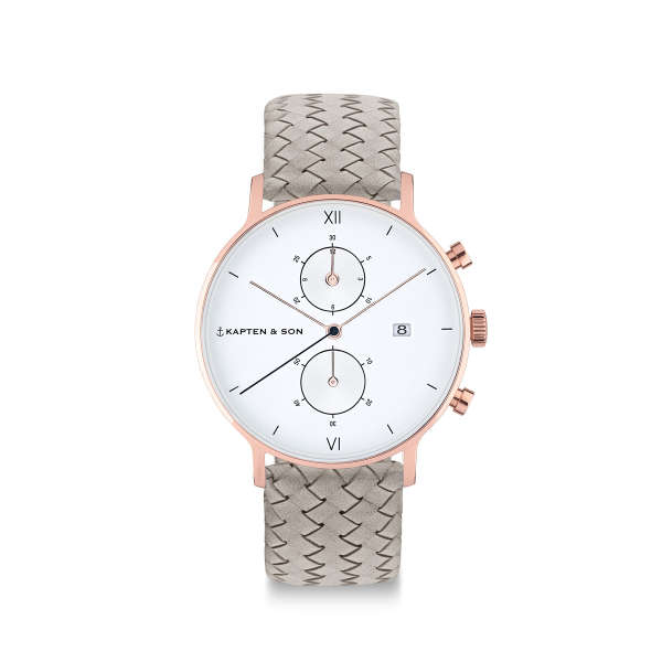 "Chrono Small ""Grey Woven Leather"""