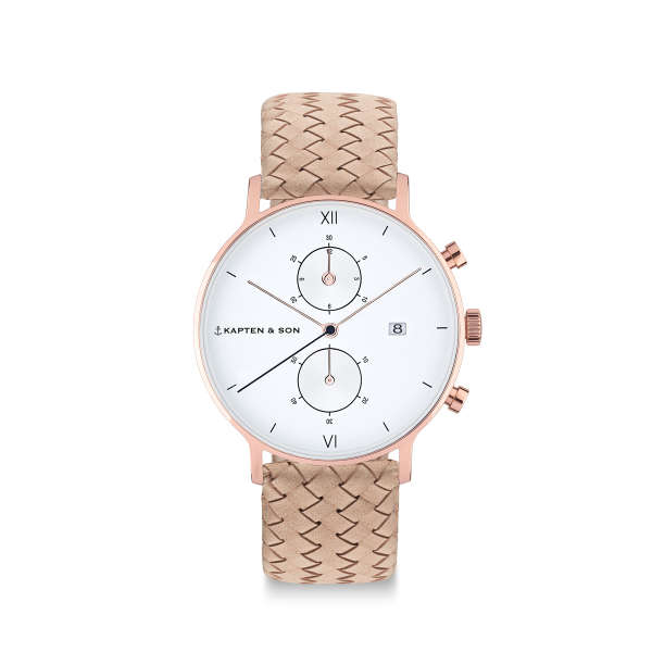 "Chrono Small ""Sand Woven Leather"""