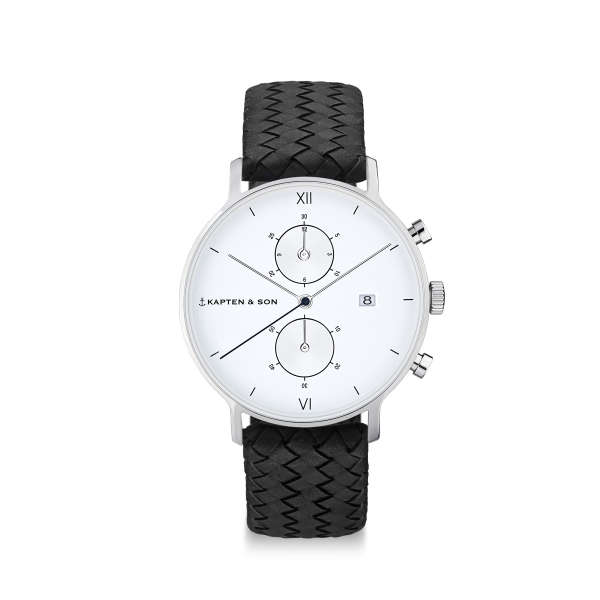 "Chrono Small Silver ""Black Woven Leather"""