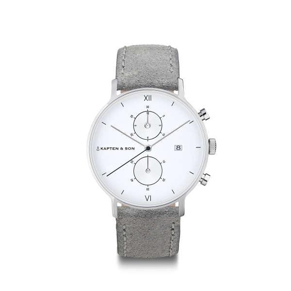 "Chrono Small Silver ""Grey Vintage Leather"""