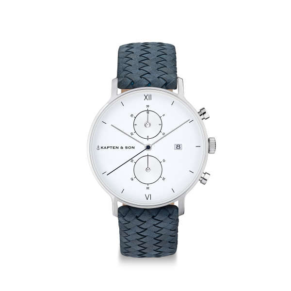 "Chrono Small Silver ""Light Blue Woven Leather"""
