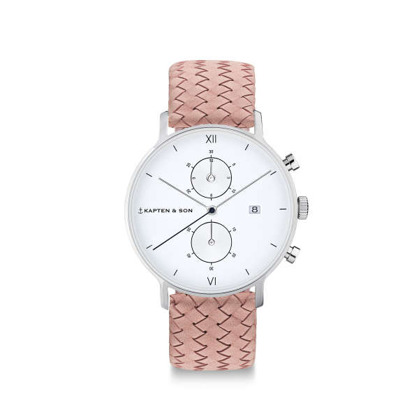 "Chrono Small Silver ""Rose Woven Leather"""
