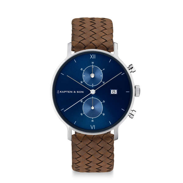 """Chrono Silver """"Blue Brown Woven Leather"""""""