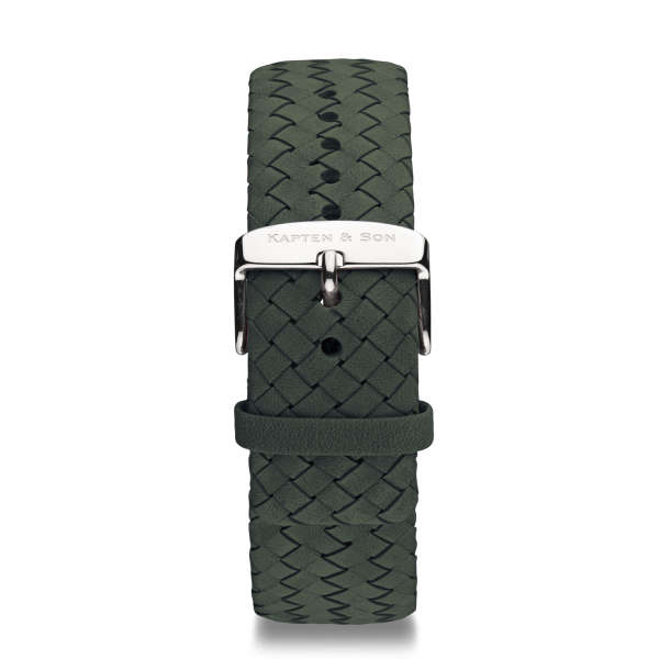 "Leather Strap ""Pine Green Woven Leather"""