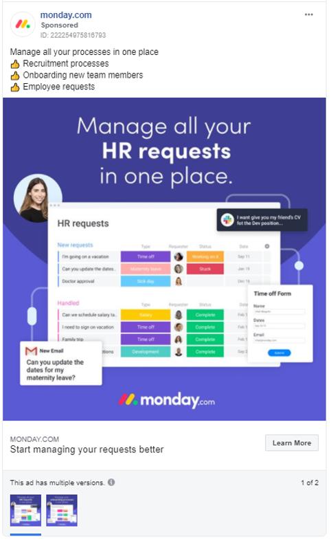 monday.com Facebook Ad 1
