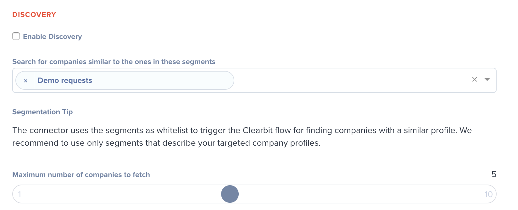 Hull Clearbit Discovery settings