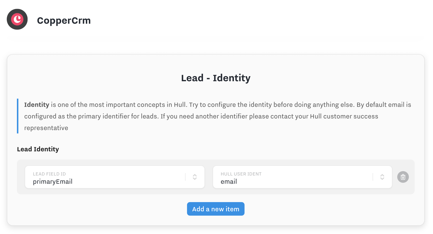 coppercrm lead identity
