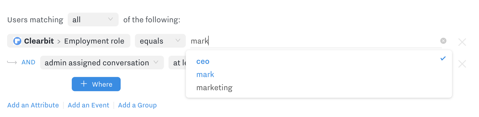 Segmentation autocomplete