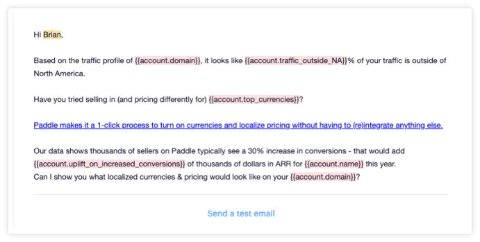 Outreach Screenshot - Personalized email from Paddle