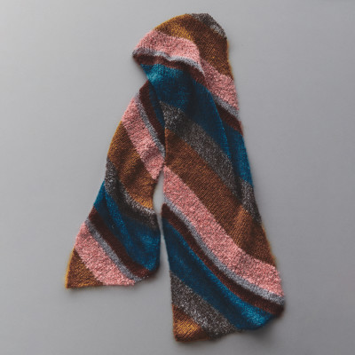 Large Stripe Crafty Mohair Scarf