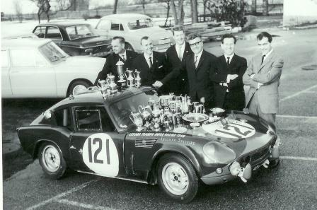 ADU 4B at the end of the 1965 season with the drivers from the Leyland Triumph Swiss Racing Team. On the right is JJ Thuner Swiss Championship winner 1965. (Picture courtesy Daniel Senn)
