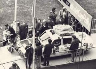 First car on the starting line Wembley 1970 World Cup Rally (Picture courtesy of Roy Fidler)