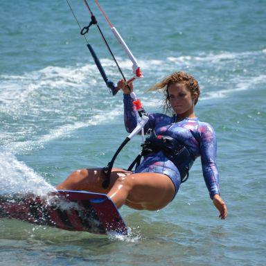 kitesurfing woman close