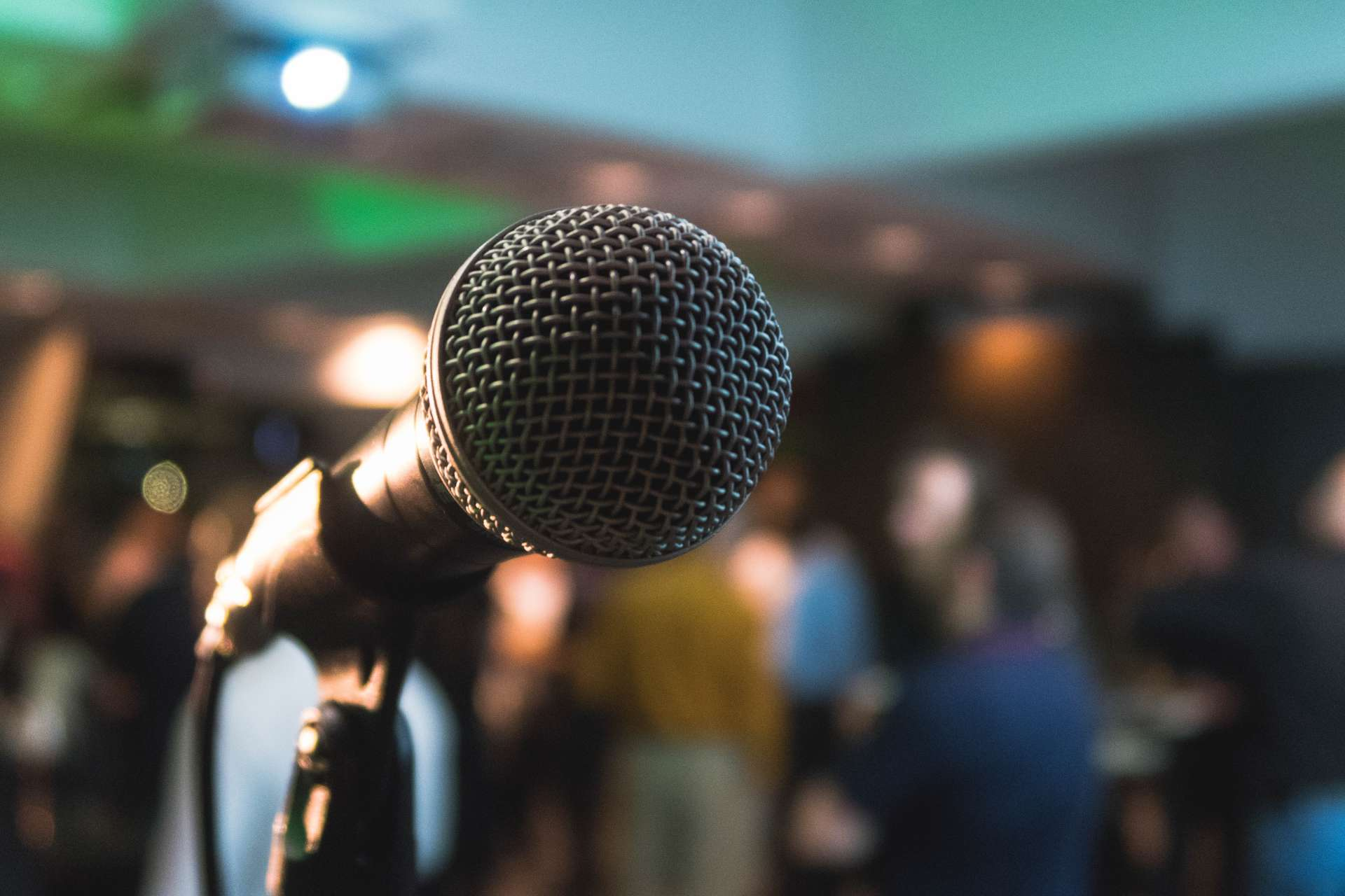 press microphone