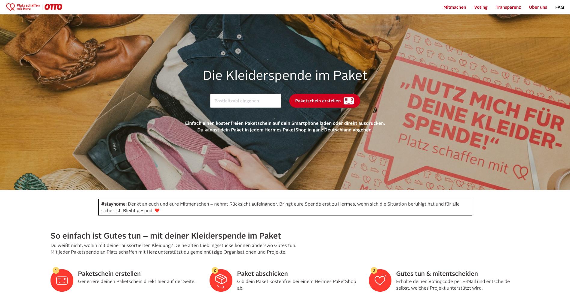 Platz schaffen mit Herz – Screen Webside