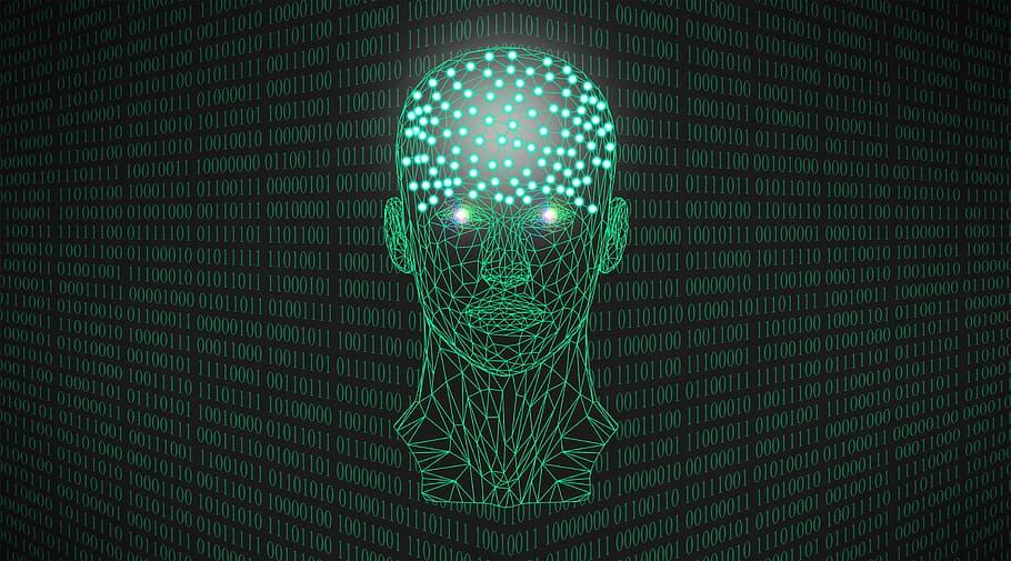 Głowa zrobiona z grafiki wektorowej. Tło zrobione z kodu binardnego.