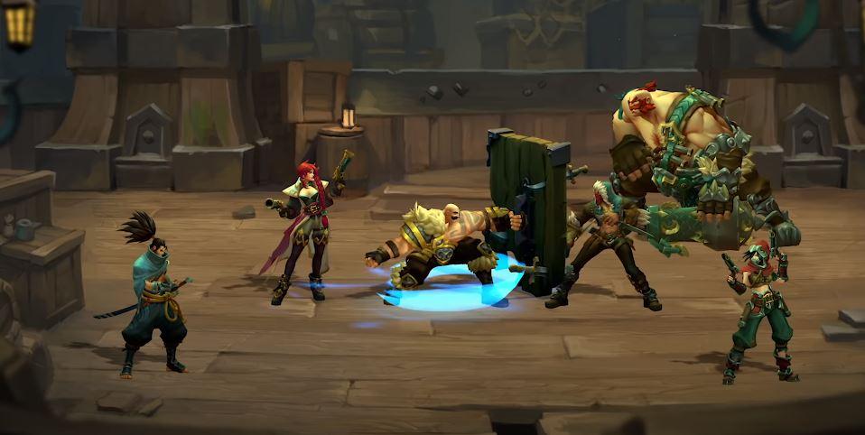 Screen z rozgrywki z Ruined King przedstawiający turową walkę 3 na 3