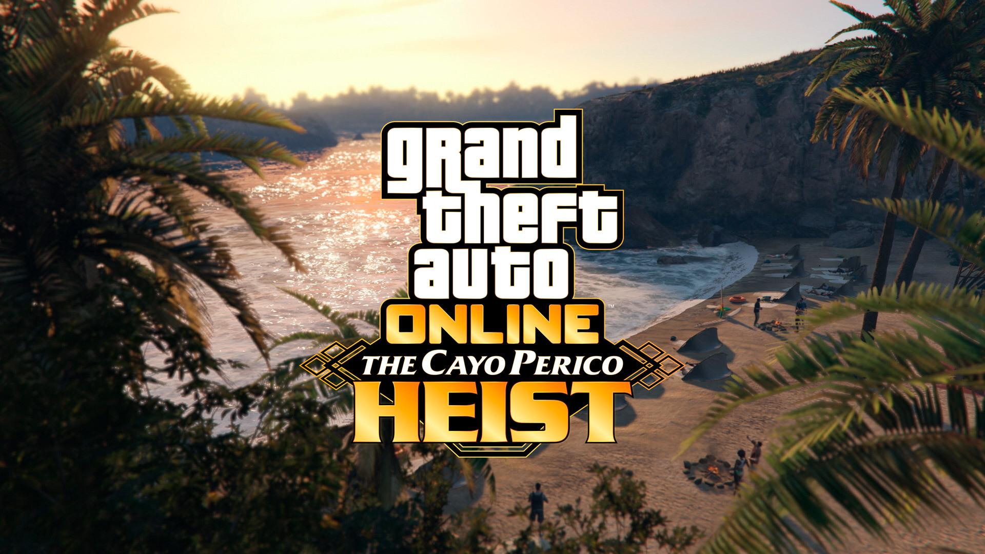 Logo GTA Online The Cayo Perico Heist z tropikalną wyspą w tle