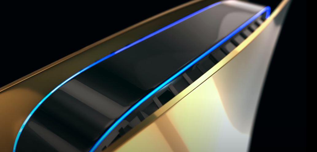 Wizualizacja PlayStation 5 wykonanego ze złota.