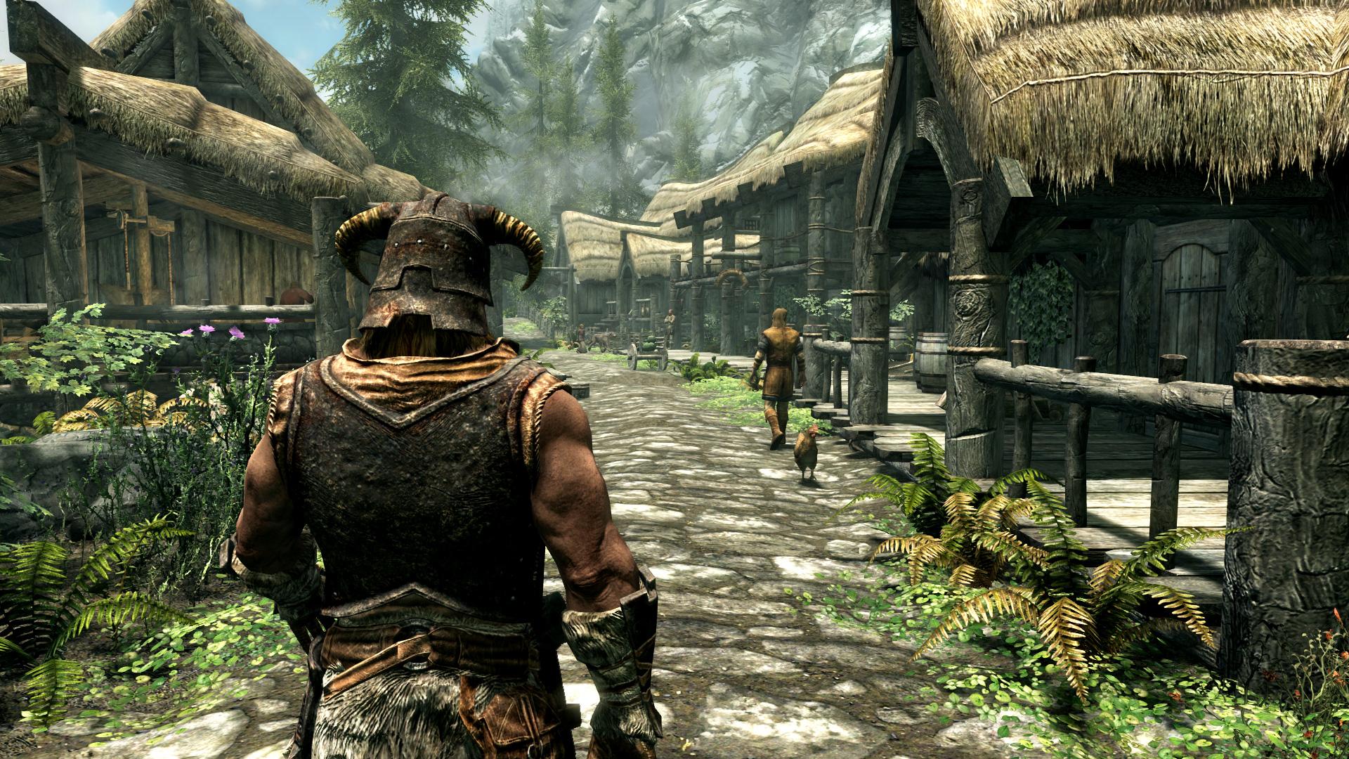 Screen przedstawiający bohatera w miasteczku w grze TES V: Skyrim