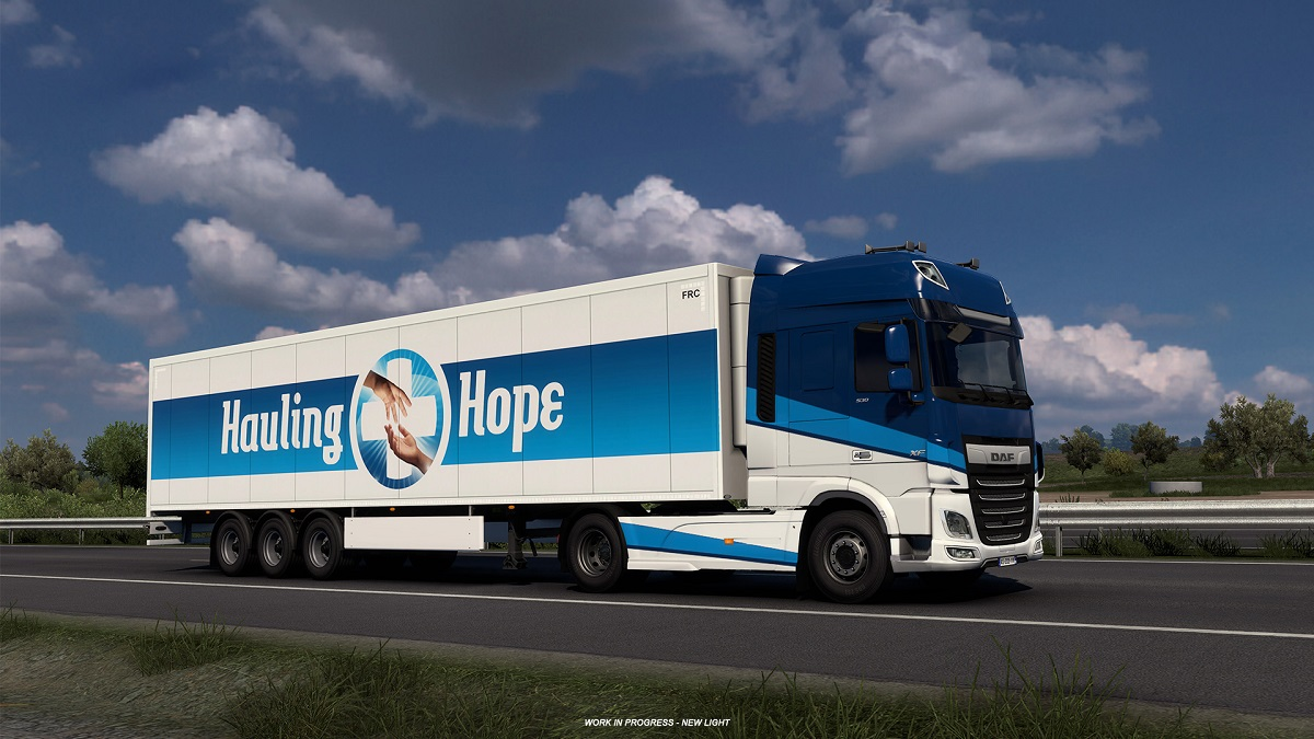 Ciężarówka Euro Truck Simulator 2 z przyczepą eventu #HaulingHope