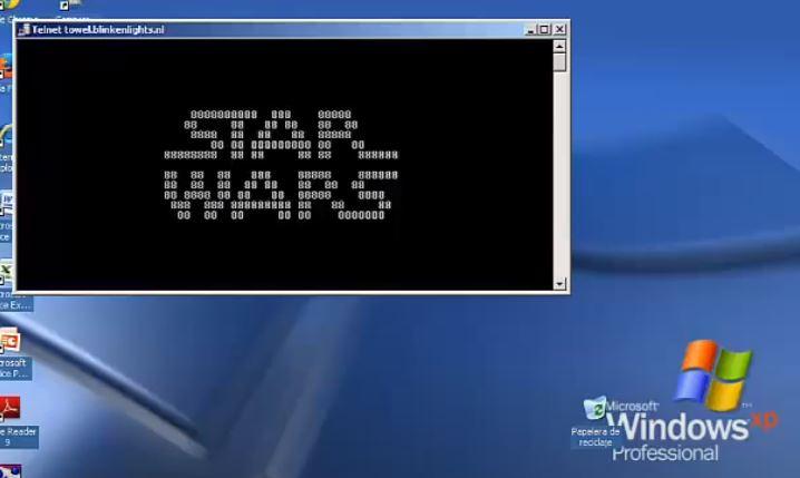 Gwiezdne Wojny włączone w oknie dialogowym CMD na Windowsie XP
