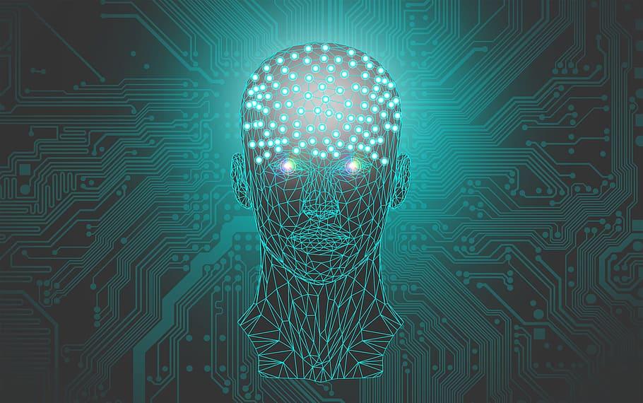 Głow aczłowieka stworzona z połączeń geometryczny, mózg z okrągłych punktów. Tło zrobione niczym płyta główna.