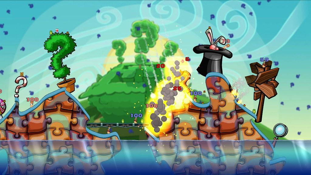 Kadr z gry Worms 2: Armageddon. Nalot, wybuchy, eksplozje wormsy.